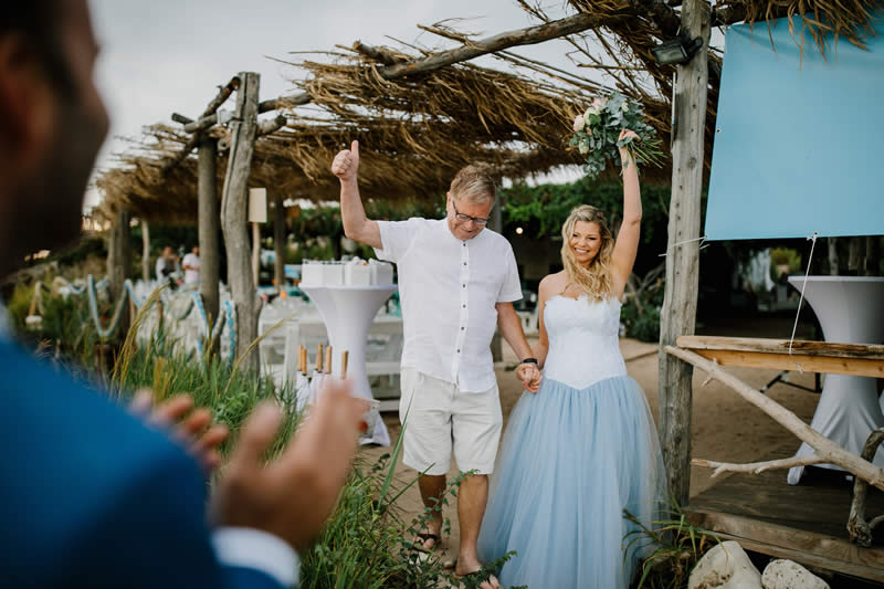 bride and father at beach wedding